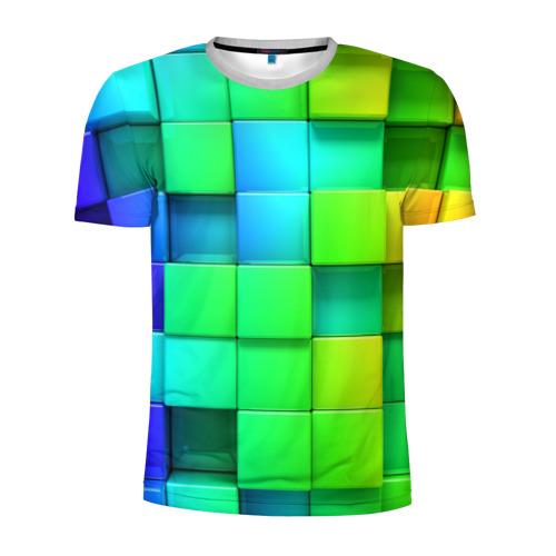 Мужская футболка 3D спортивная Кубики