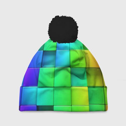 Шапка 3D c помпоном Кубики