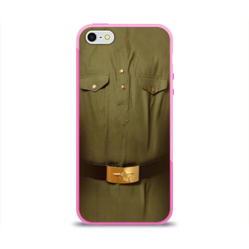 """Чехол силиконовый глянцевый для Apple iPhone 5S """"Солдатская форма"""" - 1"""
