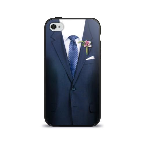 Чехол для Apple iPhone 4/4S силиконовый глянцевый Жених от Всемайки