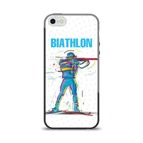 Чехол для Apple iPhone 5/5S силиконовый глянцевый Биатлон