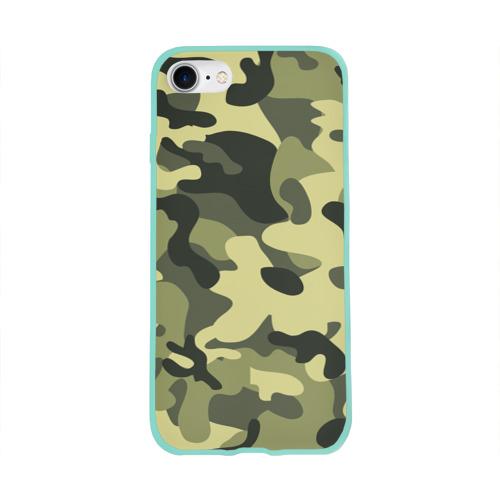 Чехол для Apple iPhone 8 силиконовый глянцевый Камуфляж Хаки Фото 01