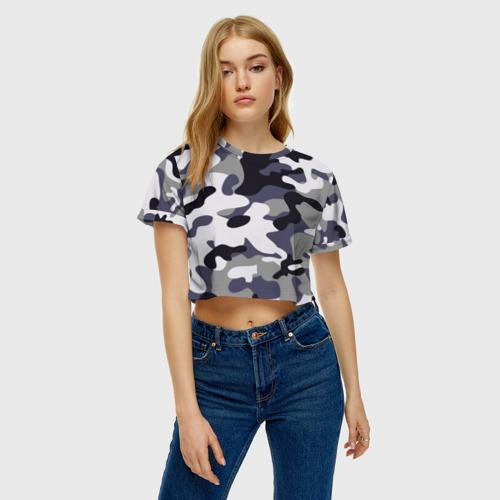 Женская футболка Crop-top 3D Городской камуфляж Фото 01