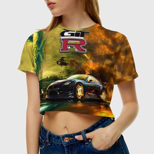 Женская футболка 3D укороченная  Фото 01, Nissan GTR