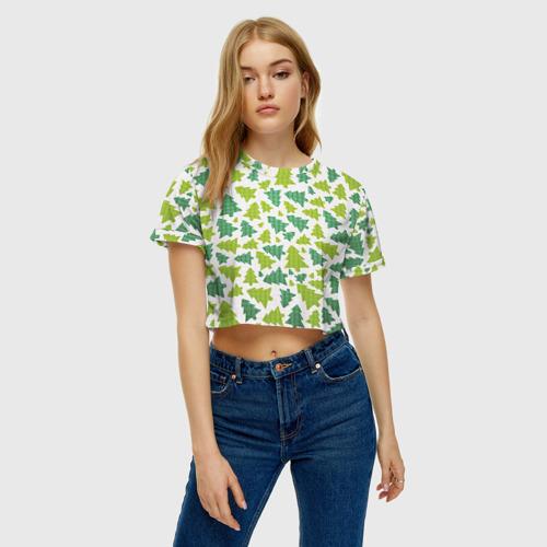 Женская футболка 3D укороченная  Фото 04, Ёлочки