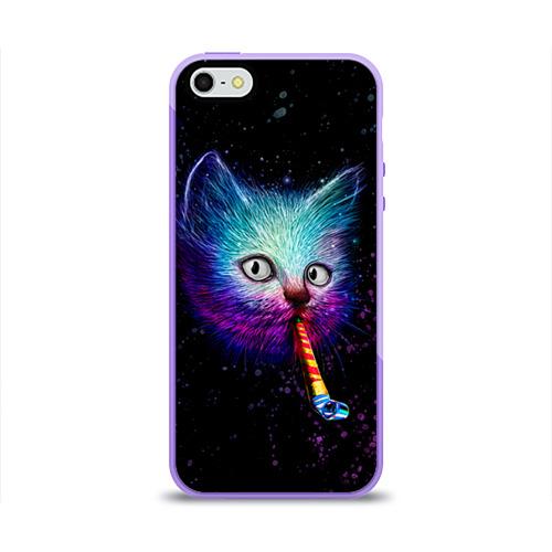 """Чехол силиконовый глянцевый для Apple iPhone 5S """"Космокот"""" - 1"""