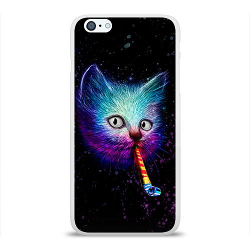 """Чехол силиконовый глянцевый для Apple iPhone 6 Plus """"Космокот"""" - 1"""