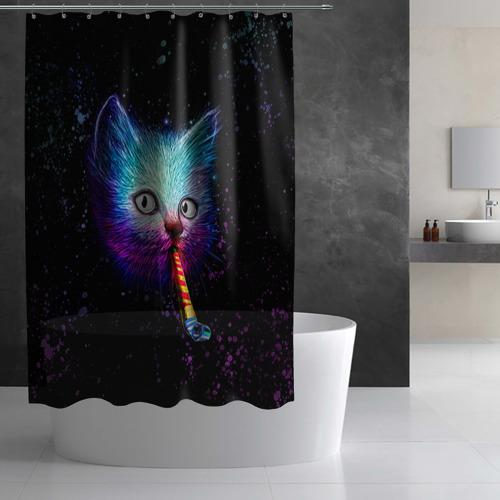 Штора 3D для ванной  Фото 03, Космокот