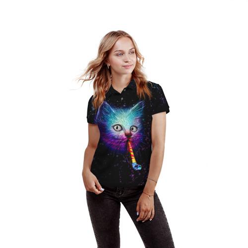Женская рубашка поло 3D  Фото 03, Космокот