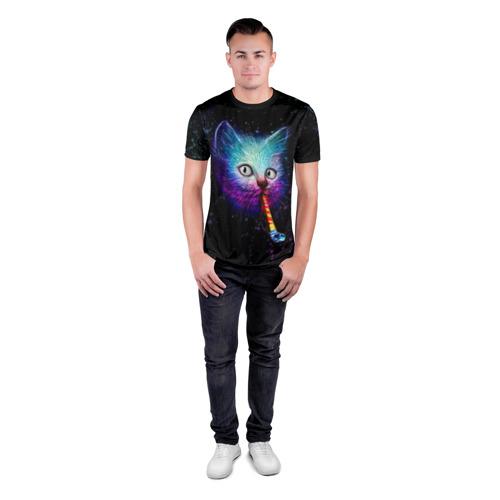 Мужская футболка 3D спортивная Космокот Фото 01