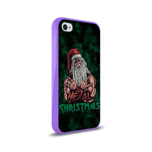 Чехол для Apple iPhone 4/4S силиконовый глянцевый  Фото 02, Metal christmas