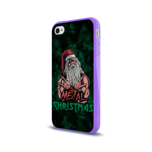 Чехол для Apple iPhone 4/4S силиконовый глянцевый  Фото 03, Metal christmas