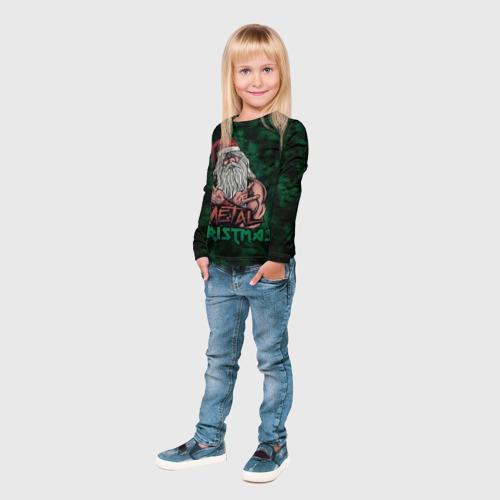 Детский лонгслив 3D  Фото 04, Metal christmas