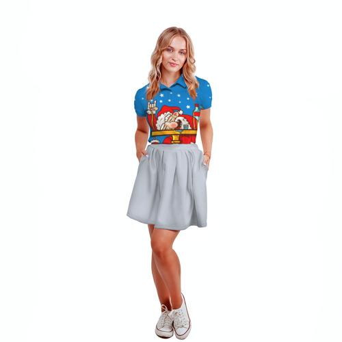 Женская рубашка поло 3D  Фото 04, Дед мороз