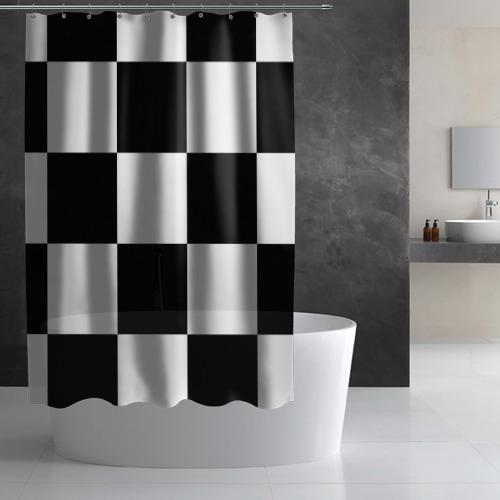 Штора 3D для ванной Клетка Фото 01