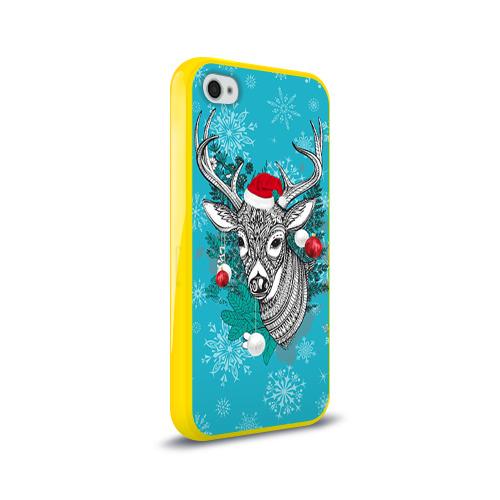 Чехол для Apple iPhone 4/4S силиконовый глянцевый  Фото 02, Новогодний олень