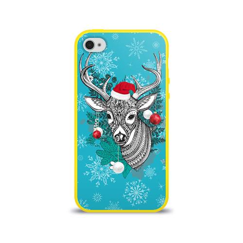 Чехол для Apple iPhone 4/4S силиконовый глянцевый  Фото 01, Новогодний олень