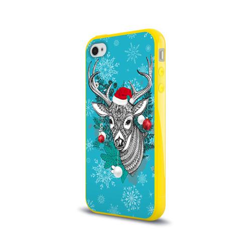 Чехол для Apple iPhone 4/4S силиконовый глянцевый  Фото 03, Новогодний олень