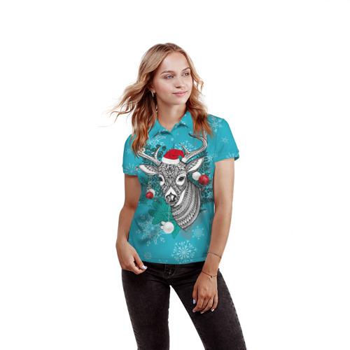 Женская рубашка поло 3D  Фото 03, Новогодний олень