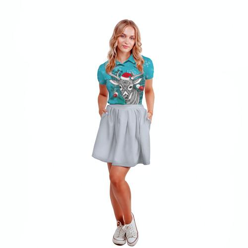 Женская рубашка поло 3D  Фото 04, Новогодний олень