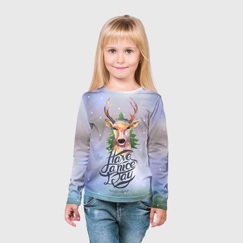 Детский лонгслив 3D  Фото 03, Новогодний олень