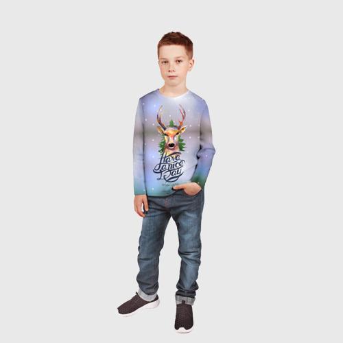 Детский лонгслив 3D  Фото 05, Новогодний олень