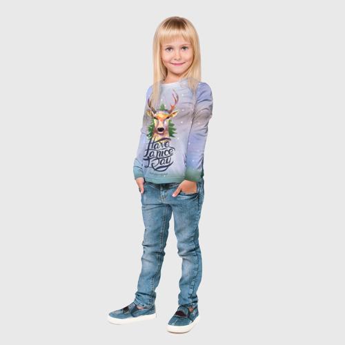 Детский лонгслив 3D  Фото 04, Новогодний олень