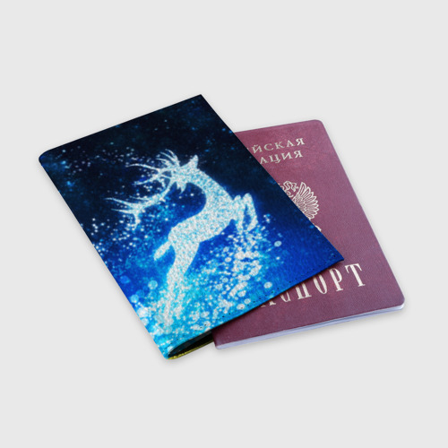 Обложка для паспорта матовая кожа Новогодний олень Фото 01