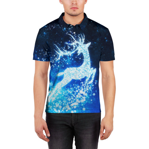 Мужская рубашка поло 3D  Фото 03, Новогодний олень