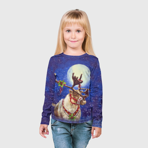 Детский лонгслив 3D  Фото 03, Christmas deer