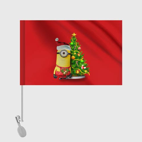 Флаг для автомобиля Ёлка и миньон Фото 01