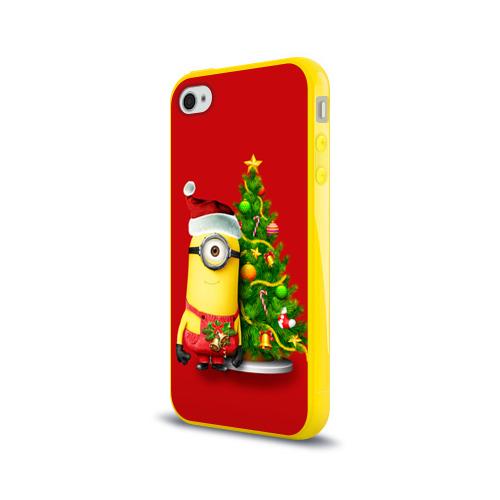 Чехол для Apple iPhone 4/4S силиконовый глянцевый  Фото 03, Ёлка и миньон