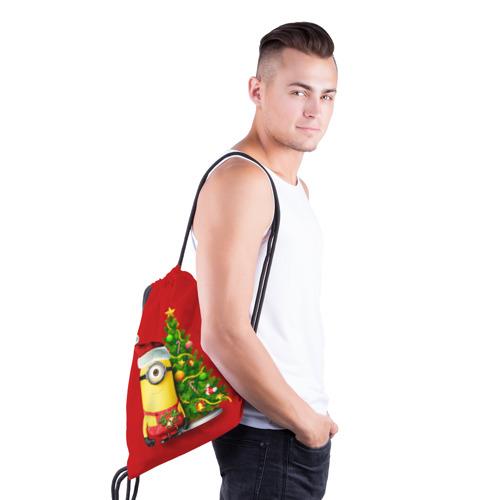 Рюкзак-мешок 3D Ёлка и миньон Фото 01