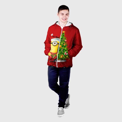 Мужская куртка 3D Ёлка и миньон Фото 01