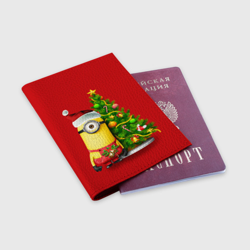 Обложка для паспорта матовая кожа Ёлка и миньон Фото 01