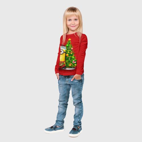Детский лонгслив 3D  Фото 04, Ёлка и миньон