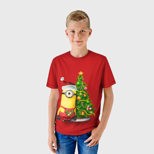 Детская футболка 3D  Фото 01, Ёлка и миньон