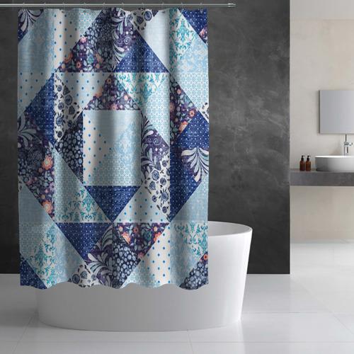 Штора 3D для ванной  Фото 03, Лоскутное шитьё