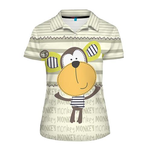 Женская рубашка поло 3D  Фото 01, Обезьянка