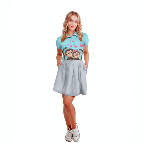 Женская рубашка поло 3D  Фото 04, Обезьянки