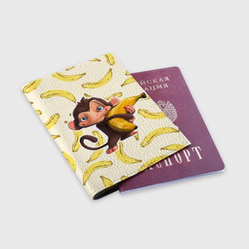 Обложка для паспорта матовая кожа  Фото 03, Обезьяна с бананом