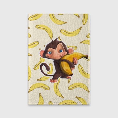 Обложка для паспорта матовая кожа  Фото 01, Обезьяна с бананом