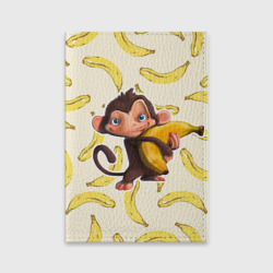 Обложка для паспорта матовая кожаОбезьяна с бананом
