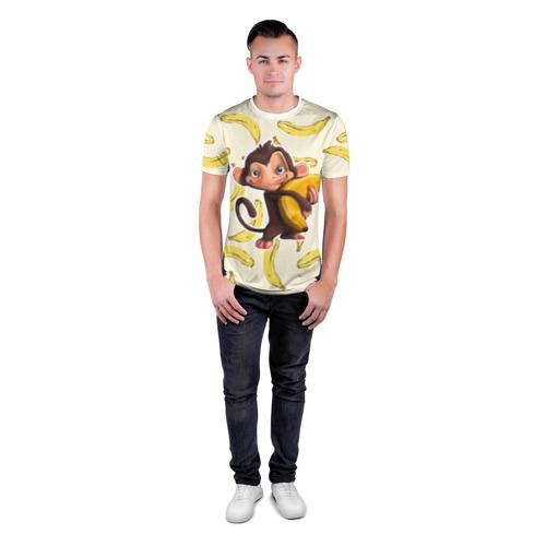 Мужская футболка 3D спортивная  Фото 04, Обезьяна с бананом