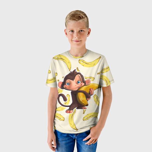 Детская футболка 3D Обезьяна с бананом Фото 01