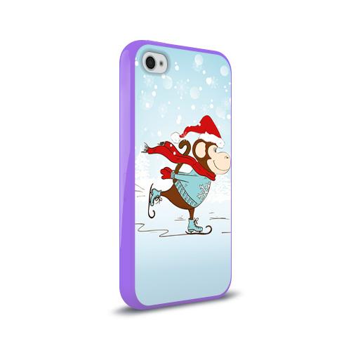 Чехол для Apple iPhone 4/4S силиконовый глянцевый  Фото 02, Обезьяна на коньках