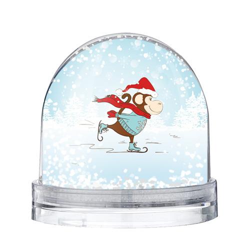 Водяной шар со снегом Обезьяна на коньках