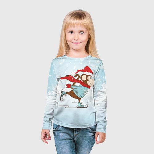 Детский лонгслив 3D  Фото 03, Обезьяна на коньках