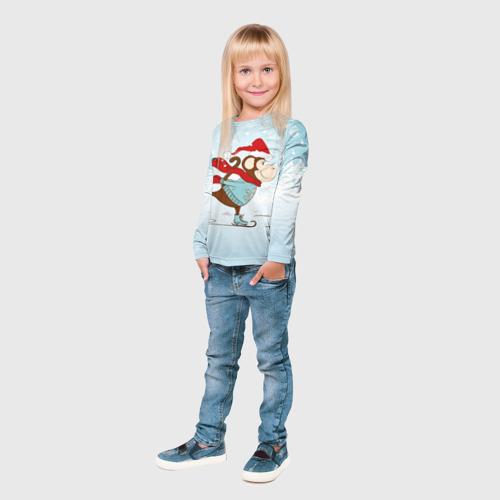 Детский лонгслив 3D  Фото 04, Обезьяна на коньках