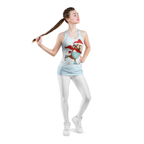 Женская майка 3D спортивная Обезьяна на коньках Фото 01